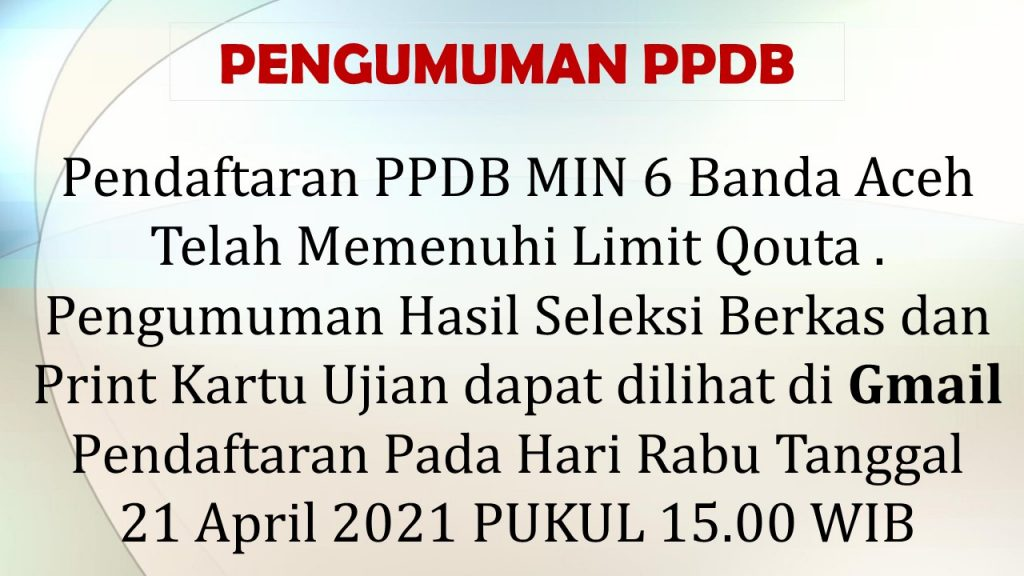 Ppdb Min 6 Banda Aceh Min 6 Model Banda Aceh